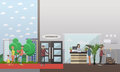 Hotel reception concept vector illustration in flat style