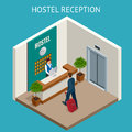 Hotel receptionist. Modern luxury hotel reception counter desk with bell. Happy female receptionist worker standing at