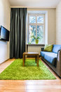 Hotel room with green rug Royalty Free Stock Photo