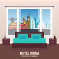 Hotel Room. View from the window. Travelling nad trip. Vector flat illustration.