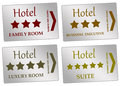 Hotel rooms entrance cards to different kinds of Stock Photos