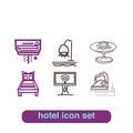 Hotel Service Icon Thin Line Art Set Pixel Perfect Art. Royalty Free Stock Photo
