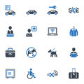 Hotel services and facilities icons set blue this contains that can be used for designing developing websites as well as printed Royalty Free Stock Photos