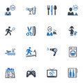 Hotel services and facilities icons set blue this contains that can be used for designing developing websites as well as printed Royalty Free Stock Photography