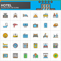 Hotel services and facilities line icons set, filled outline vector symbol collection, linear  colorful pictogram pack. Signs, log Royalty Free Stock Photo