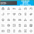 Hotel services and facilities line icons set, outline vector symbol collection, linear  pictogram pack. Signs, logo illustration. Royalty Free Stock Photo
