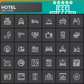 Hotel services and facilities line icons set, outline vector symbol collection, linear white  pictogram pack. Royalty Free Stock Photo