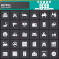 Hotel services and facilities vector icons set, modern solid symbol collection, filled white pictogram pack. Signs, logo illustrat Royalty Free Stock Photo