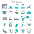 25 hotel services icons. Silhouette. Color block. Isolated.