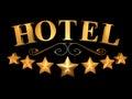 Hotel Sign On A Black Backgrou...