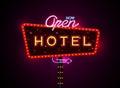 Hotel sign buib and neon