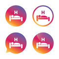 Hotel sign icon. Rest place. Sleeper symbol. Royalty Free Stock Photo