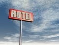 Hotel sign under cloudy sky d illustration Royalty Free Stock Image