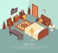 Hotel Single Room Isometric Illustration Poster