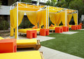 Hotel Swimming and Wading Pool Cabanas Royalty Free Stock Photo