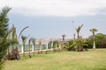 Hotel territory modern with terrace near coastline Stock Photos