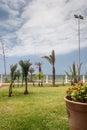 Hotel territory modern with terrace near coastline Royalty Free Stock Image