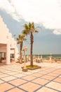 Hotel territory modern with terrace near coastline Stock Image