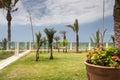 Hotel territory modern with terrace near coastline Stock Photography
