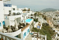 Hotel with in thira santorini restaurant and swimming pool on island Royalty Free Stock Photo