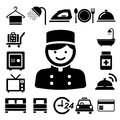 Hotel and travel icon set illustration eps Stock Photos