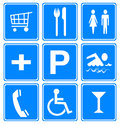 Hotel and travel icons set of blue white Royalty Free Stock Photography
