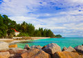 Hotel at tropical beach, Praslin, Seychelles Royalty Free Stock Photography