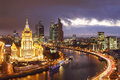 Hotel Ukraine and Moscow City business complex Royalty Free Stock Photo