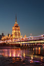 Hotel ukraine view krasnopresnenskaya embankment night moscow Royalty Free Stock Images