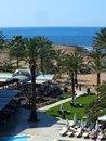 Hotel view from balcony of the beach and restaurant Stock Photography