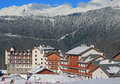 Hotel village at the ski resort, snowy Caucasian Mountains Royalty Free Stock Photo