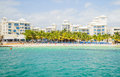 Hotel Zone in Cancun/ Zone Hoteliere Cancun / Beach at hotel Royalty Free Stock Photo