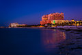 Hotels along the gulf of mexico at night in clearwater beach fl florida Royalty Free Stock Photos
