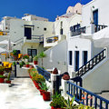 Hotels of santorini in traditional cycladic style Royalty Free Stock Image