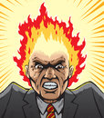 Hothead drawing of a hot tempered man Royalty Free Stock Image