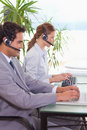 Hotline employees at work Royalty Free Stock Photo