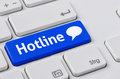 Hotline a keyboard with a blue button Stock Photography