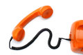 Hotline orange telephone on white Royalty Free Stock Photo