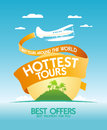 Hottest tours design template around the world with airplane and tropical island Stock Images