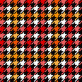 Houndstooth checkered seamless pattern in red yellow black and white, vector Royalty Free Stock Photo