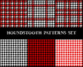 Houndstooth checkered seamless patterns set in red black and white, vector Royalty Free Stock Photo