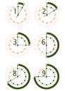 Hour icons set of of hours with one two three six and eight hours on a white background Stock Images