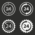24 hour service icons set.