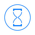 Hourglass circular line icon. Round colorful sign. Time flat style vector symbol.