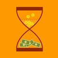 Hourglass concept business finance money