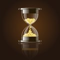 Hourglass with gold coins over dark background vector illustration Stock Photo
