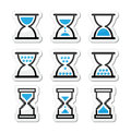 Hourglass sandglass icon set differnt black and blue labels isolated on white Royalty Free Stock Photography