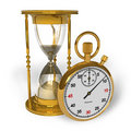 Hourglass and stopwatch Royalty Free Stock Photos