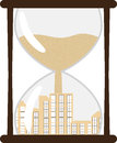 Hourglass with town inside eps vector illustration Royalty Free Stock Image