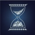 Hourglass vector icon made up a lot of diamonds Royalty Free Stock Photo